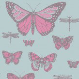 Cole & Son Butterflies and Dragonflies Pink and Blue Wallpaper