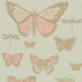 Cole & Son Butterflies and Dragonflies Pink and Olive Wallpaper