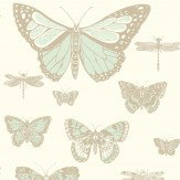 Cole & Son Butterflies and Dragonflies Duck Egg & Ivory Wallpaper