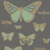 Cole & Son Butterflies and Dragonflies Green & Charcoal Wallpaper