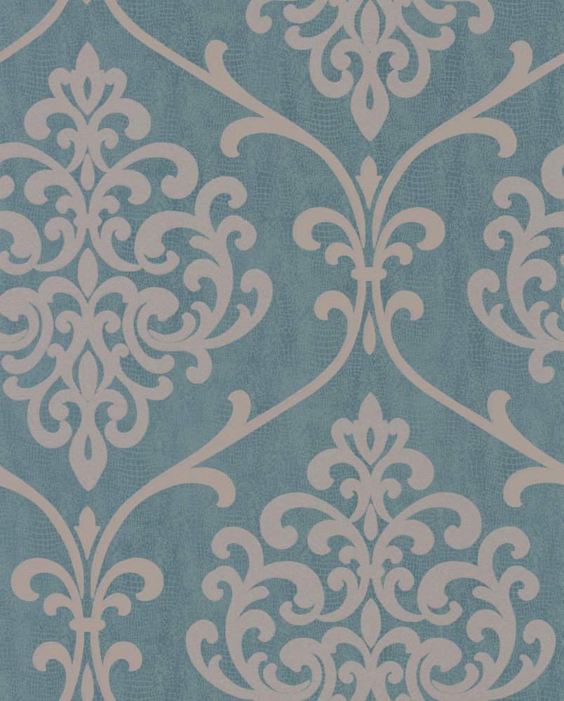 Albany Crocodile Glitter Damask Teal Wallpaper main image