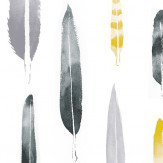 Mini Moderns Feathers  Mustard Wallpaper