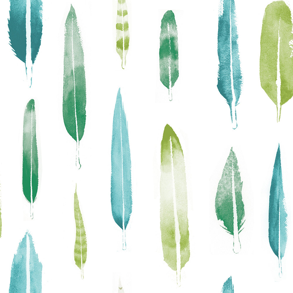 Mini Moderns Feathers Coach Emerald Wallpaper Main Image