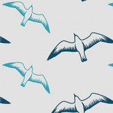 Mini Moderns Gulls Washed Denim Wallpaper