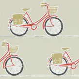 Scion Cykel Poppy, Charcoal and Biscuit Wallpaper