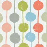 Scion Taimi Poppy, Kiwi and Charcoal Wallpaper