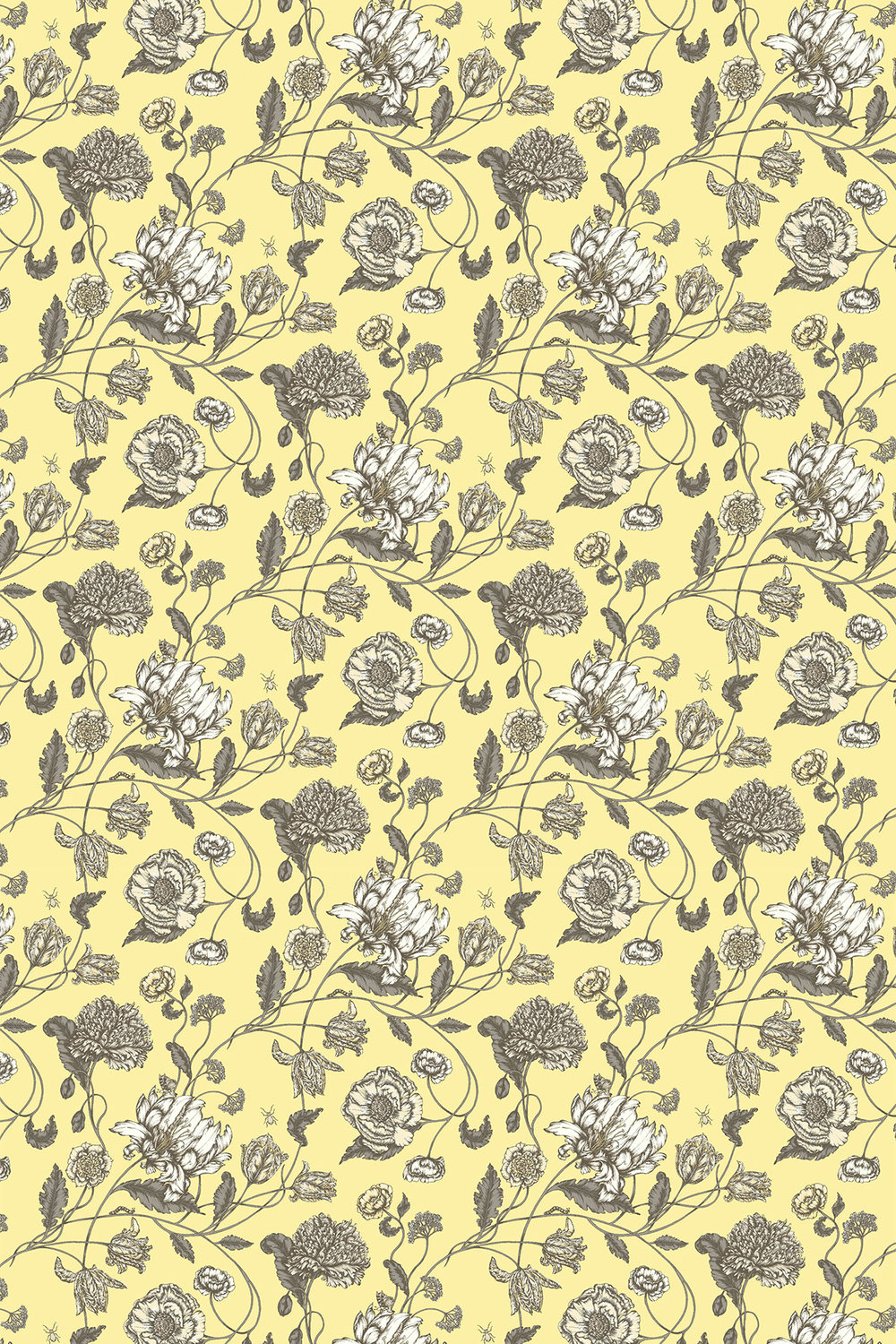 Blendworth Mayenne Charcoal/ Yellow Fabric - Product code: MAYENNE 1