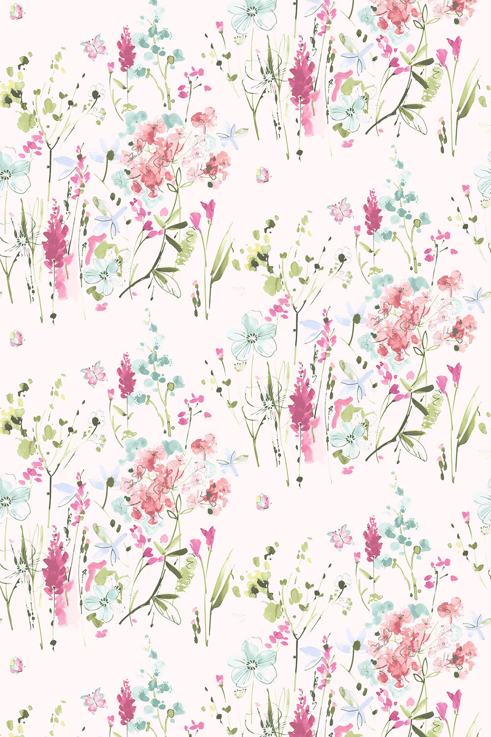 Blendworth Meadow Flowers Pink/ Green Fabric - Product code: MEADOW FLOWERS 1