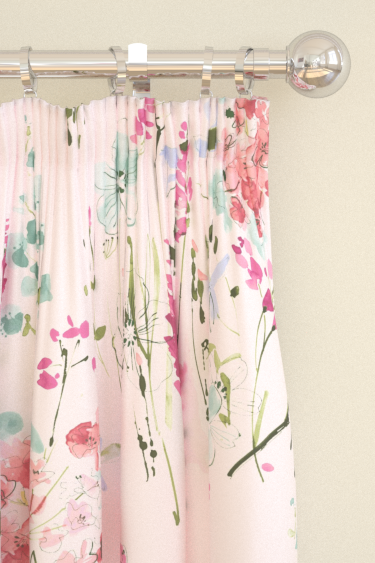 Blendworth Meadow Flowers Pink/ Green Curtains - Product code: MEADOW FLOWERS 1