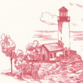 Casadeco Harbour Sketch Cherry Red Wallpaper
