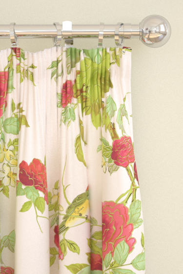 Blendworth Silk Rose Ivory/ Red Curtains - Product code: SILK ROSE 101