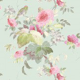 Blendworth Silk Flower Pink/ Duck Egg Fabric - Product code: SILK FLOWER 103