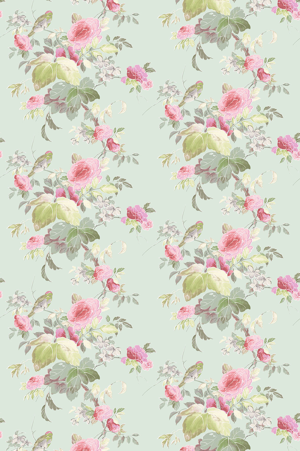Blendworth Silk Rose Pink/ Duck Egg Fabric - Product code: SILK ROSE 103