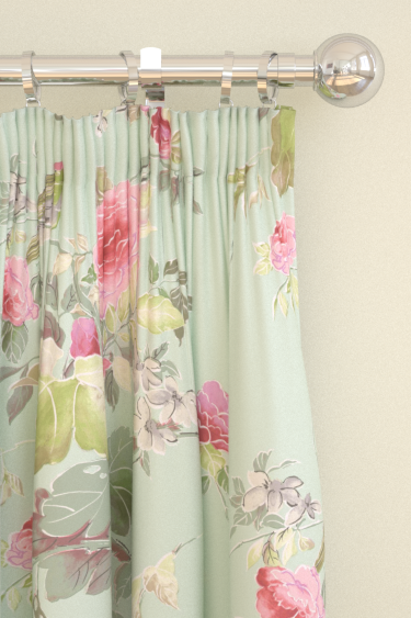 Blendworth Silk Rose Pink/ Duck Egg Curtains - Product code: SILK ROSE 103