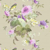 Blendworth Silk Flower Purple/ Taupe Fabric - Product code: SILK FLOWER 105