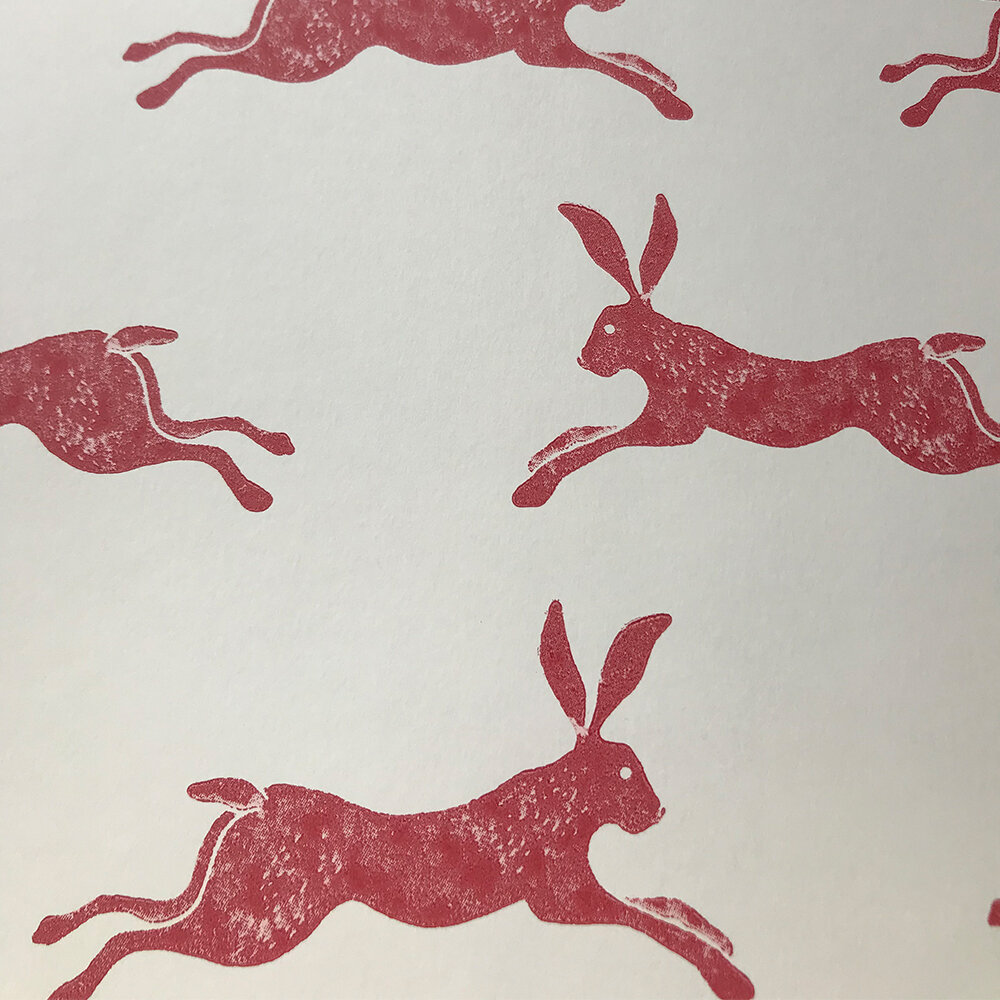 March Hare Wallpaper - Red - by Jane Churchill