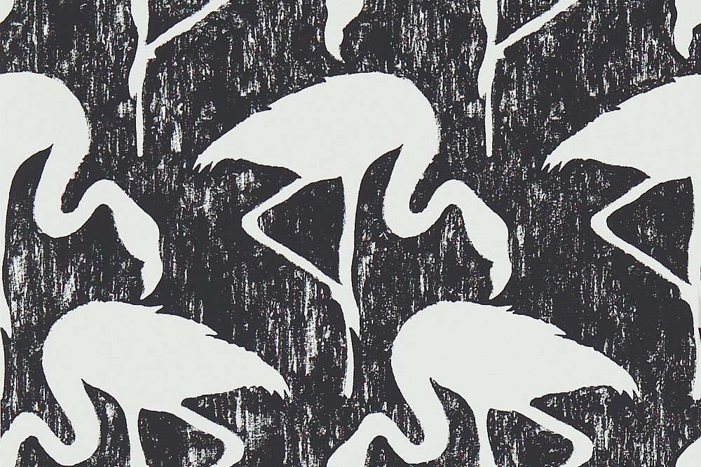 Sanderson Flamingos Ebony / Stone Wallpaper main image