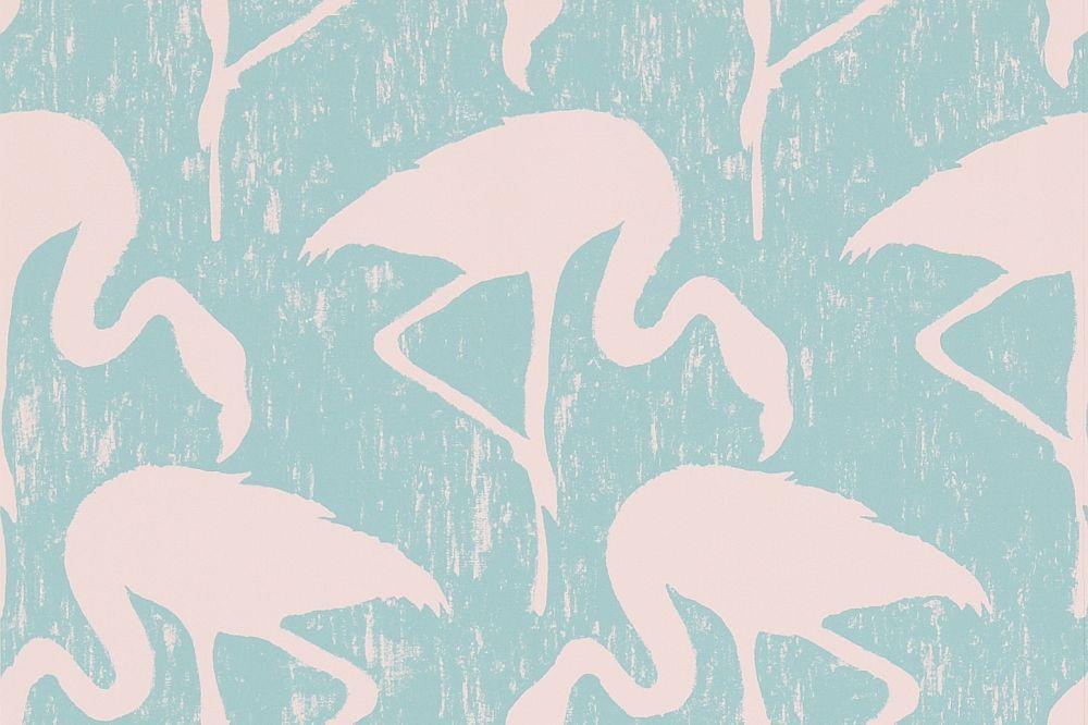 Sanderson Flamingos Turquoise / Pink Wallpaper main image