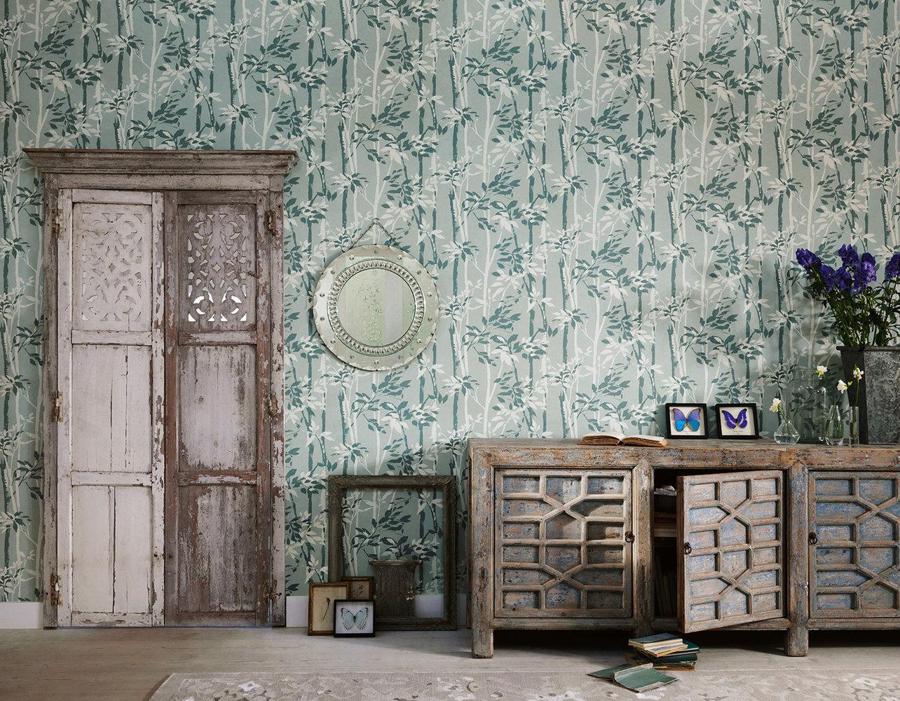 Beechgrove Wallpaper - Duck Egg / Chalk - by Sanderson