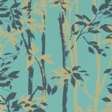 Sanderson Beechgrove Teal / Gold Wallpaper - Product code: 214573