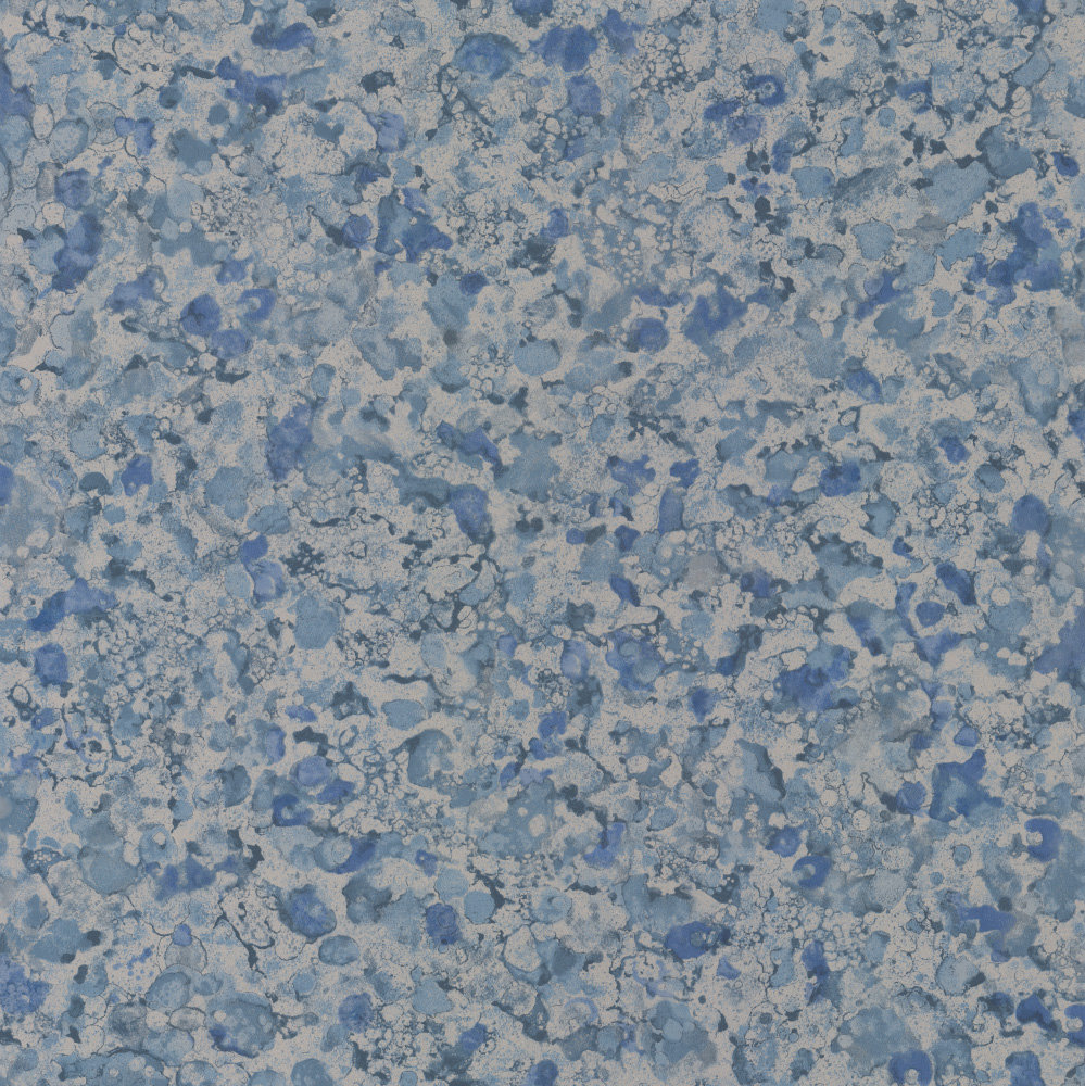 Osborne & Little Ebru Metallic Silver & Denim Wallpaper - Product code: W6751/04