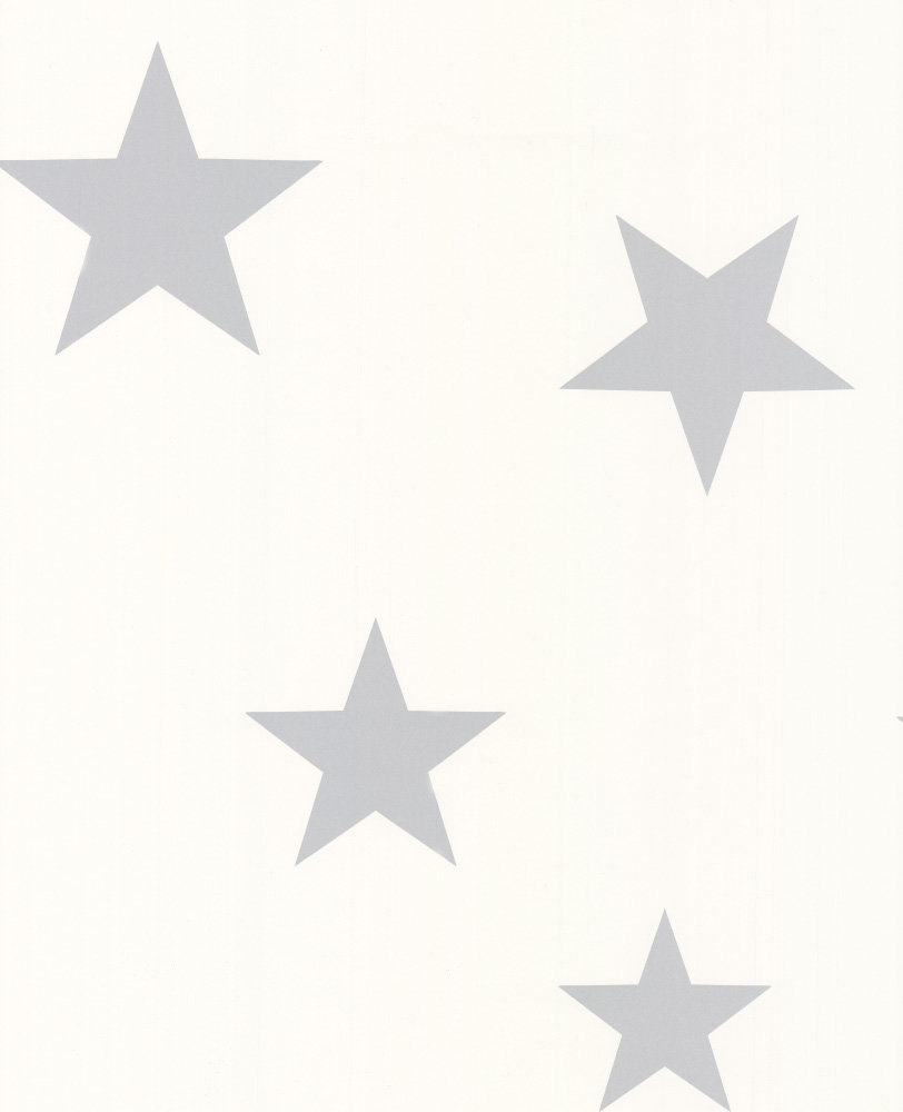 Hibou Home Stars Silver White Wallpaper Main Image