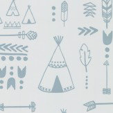 Hibou Home Teepees Storm Green / Grey Wallpaper