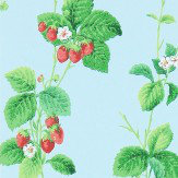 Sanderson Summer Strawberries Strawberry / Sky Wallpaper