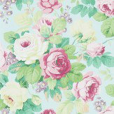 Sanderson Chelsea Duck Egg / Rose Wallpaper