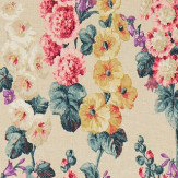 Sanderson Hollyhocks Teal / Ruby Fabric