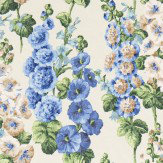 Sanderson Hollyhocks Sapphire / Green Fabric - Product code: 224308