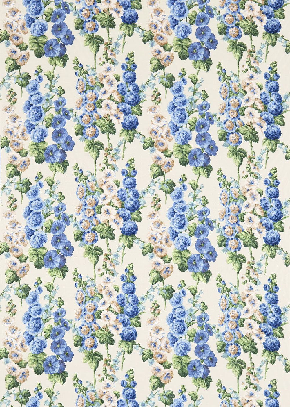 Sanderson Hollyhocks Sapphire / Green Fabric main image