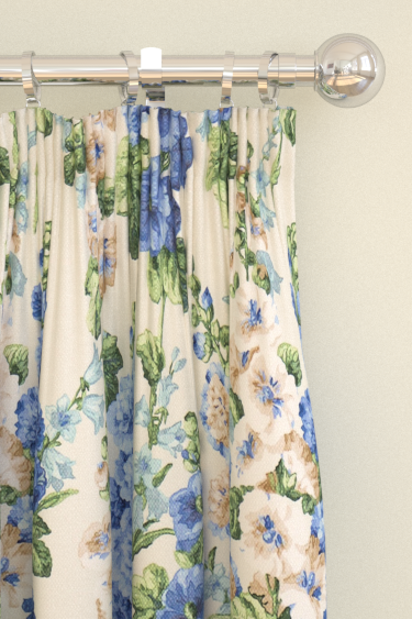 Sanderson Hollyhocks Sapphire / Green Curtains