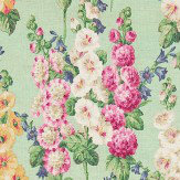 Sanderson Hollyhocks Mint / Pink Fabric - Product code: 224309