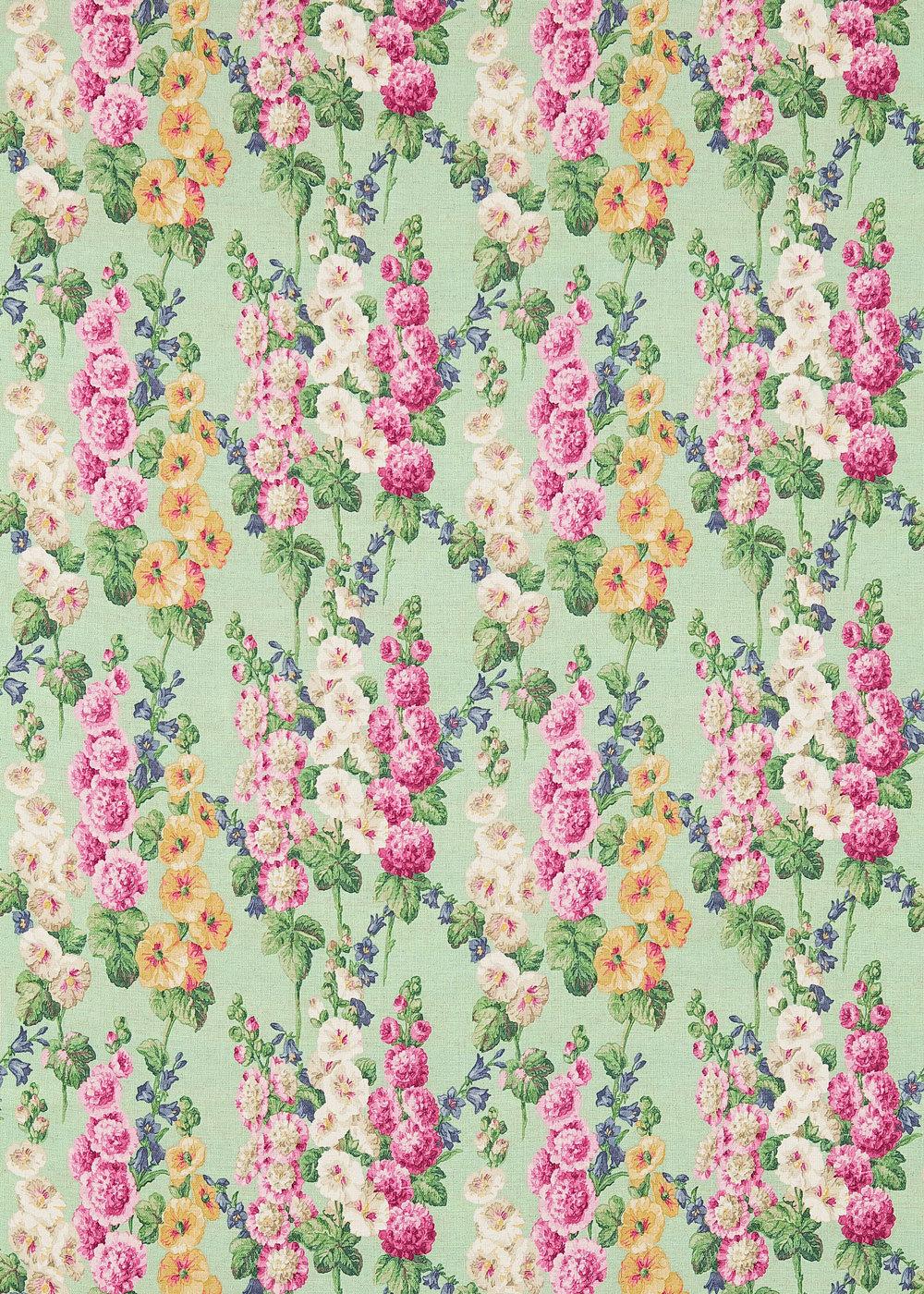 Hollyhocks By Sanderson Mint Pink Fabric Wallpaper