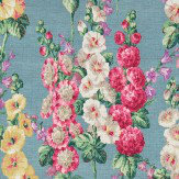 Sanderson Hollyhocks Petrol Blue Fabric