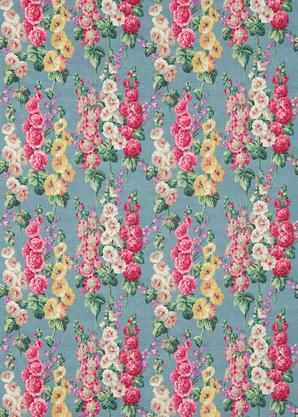 Hollyhocks By Sanderson Petrol Blue Fabric Wallpaper