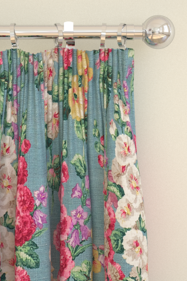 Sanderson Hollyhocks Petrol Blue Curtains