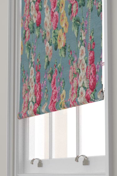 Sanderson Hollyhocks Petrol Blue Blind
