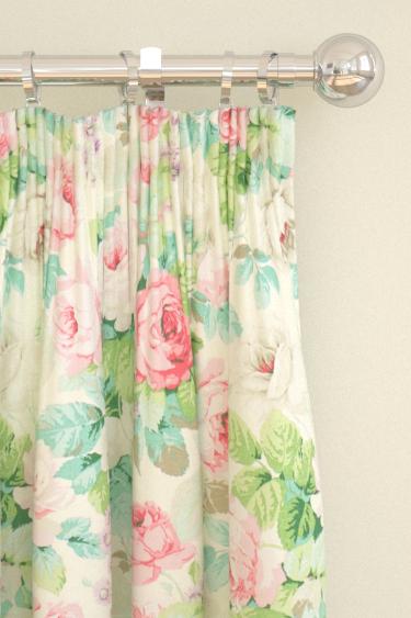 Sanderson Chelsea Pink / Celadon Curtains - Product code: 224321