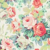 Sanderson Chelsea Coral / Emerald Fabric