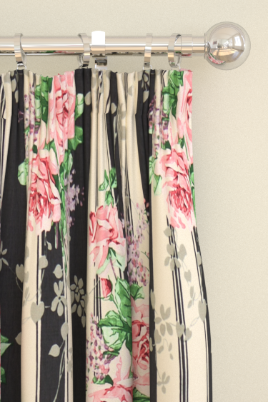 Sanderson Cecile Rose Ebony / Rose Curtains - Product code: 224328