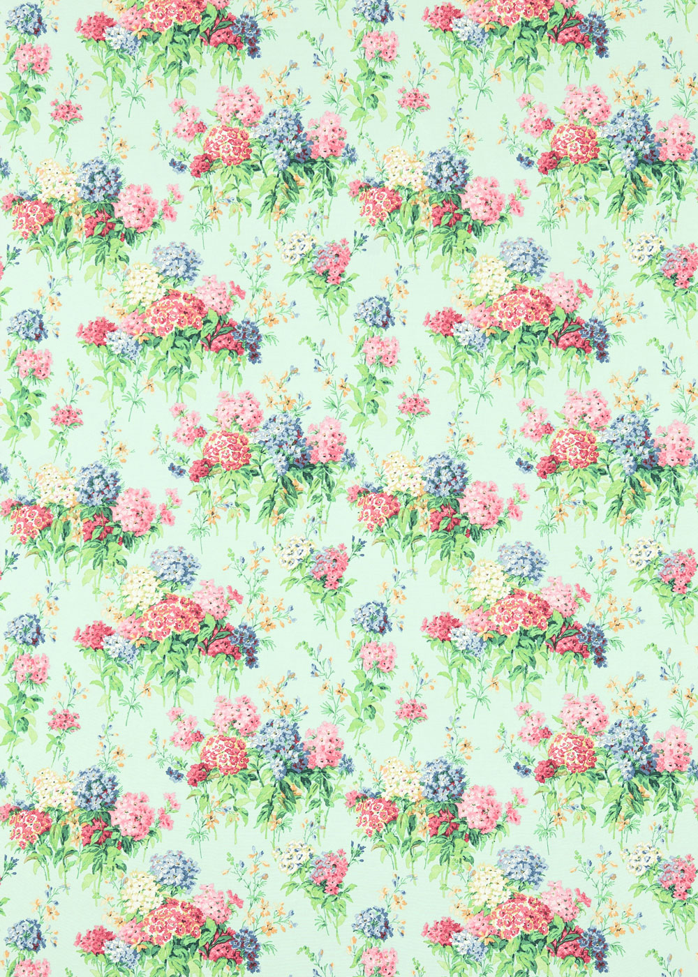 Sanderson Sweet Williams Duck Egg / Pink Fabric - Product code: 224335