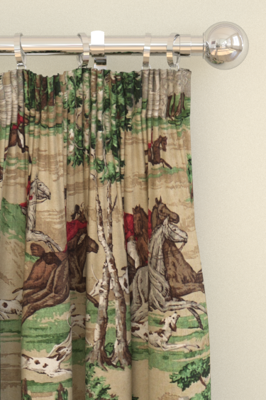 Sanderson Tally Ho Evergreen / Crimson Curtains - Product code: 224338