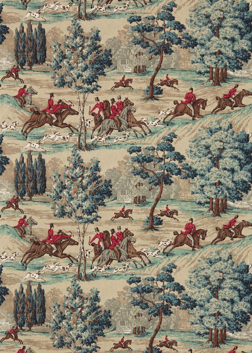 Tally Ho Fabric - Teal / Ruby - by Sanderson