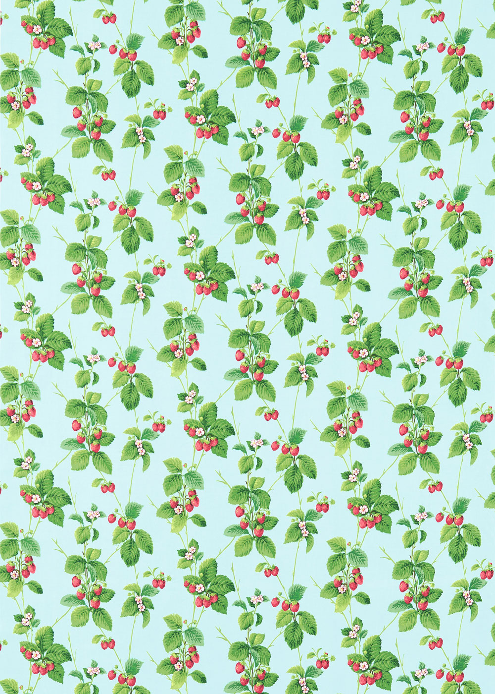 Sanderson Summer Strawberries Strawberry / Sky Fabric - Product code: 224342