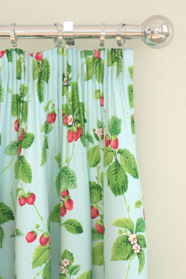Sanderson Summer Strawberries Strawberry / Sky Curtains - Product code: 224342