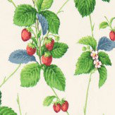 Sanderson Summer Strawberries Strawberry / Leaf Fabric - Product code: 224343