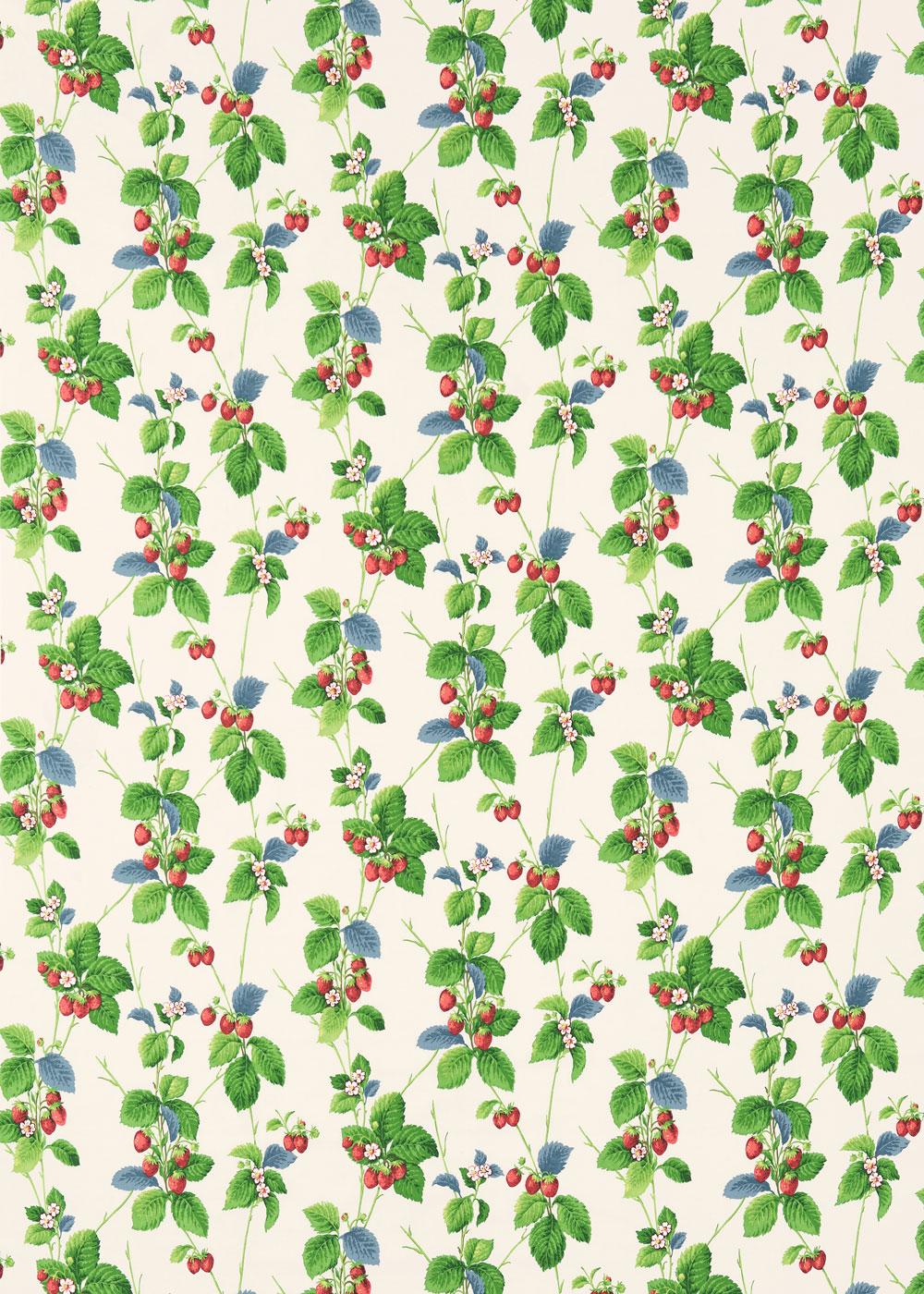 Summer Strawberries Fabric - Strawberry / Leaf - by Sanderson