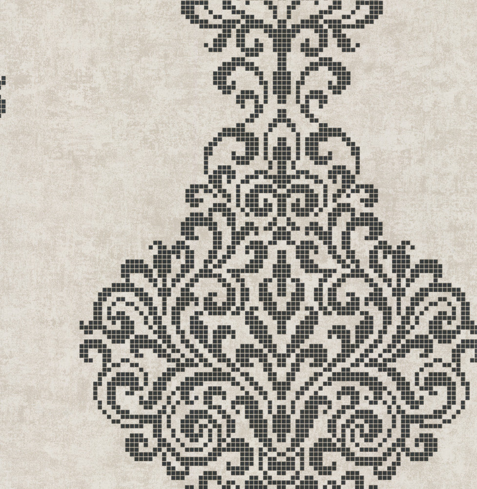 Holographic Damask Motif by Albany - Stone - 20749